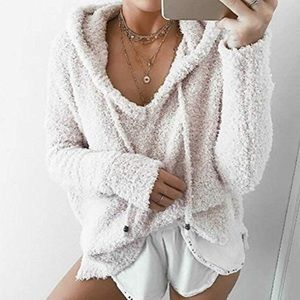 Popcorn chenille soft Hooded pullover womens